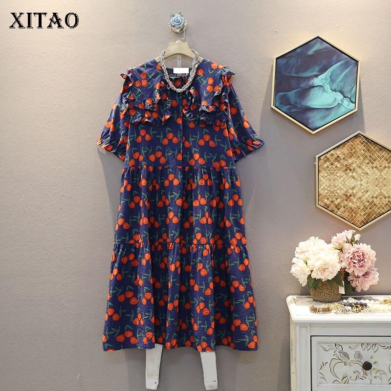 Vestido plisado de talla grande XITAO, vestido de mujer 2020, novedad de verano, moda suelta, Perter Pan Collar elegante vestido DZL1271