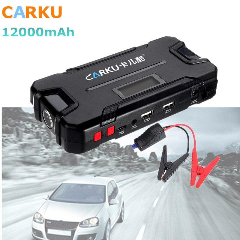 CARKU 12V 12000mAh Car Jump Starter Battery Booster 600A LED Flashlight QC3.0 Dual USB Emergency Battery Charger Auto Power Bank