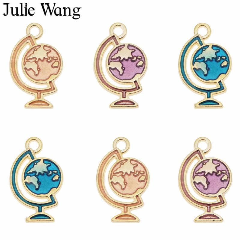 Lote de 12 Uds. De abalorios de esmalte de esfera pequeña de Julie Wang, colgante de mapa en tono dorado de aleación, accesorios para hacer joyería