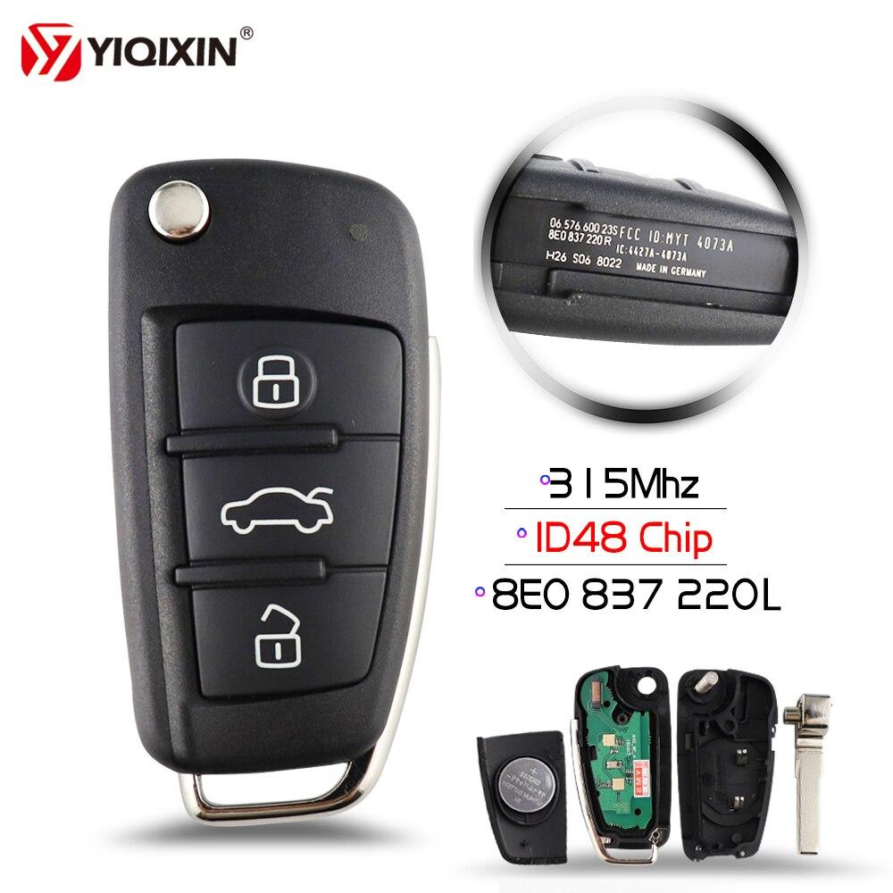 YIQIXIN 3 زر فليب للطي مفتاح السيارة عن بعد 315/433Mhz 8E0837220L/8E0837220AF الزجاج ID48 8E رقاقة لأودي A2 A3 A4 A6 A6L A8 Q7