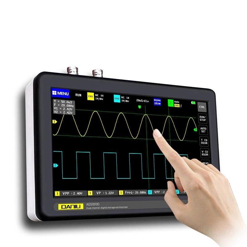 ADS1013D 2 قنوات 100MHz عرض النطاق 1GSa/s معدل أخذ العينات راسم الذبذبات مع 7 بوصة لون TFT LCD تعمل باللمس
