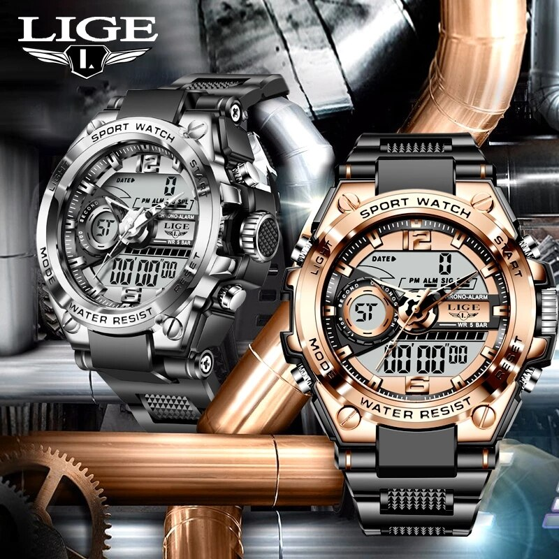 2021 LIGE Sport Men Quartz Digital Watch Creative Diving Watches Men Waterproof Alarm Clock Dual Display Watch Relogio Masculino