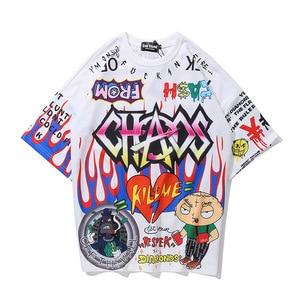 Hip Hop Cartoon Graffiti Anime Printed T Shirt For Men Manga Short Sleeve Street Dance Tops Tshirts Cotton Women Camisetas Kpop
