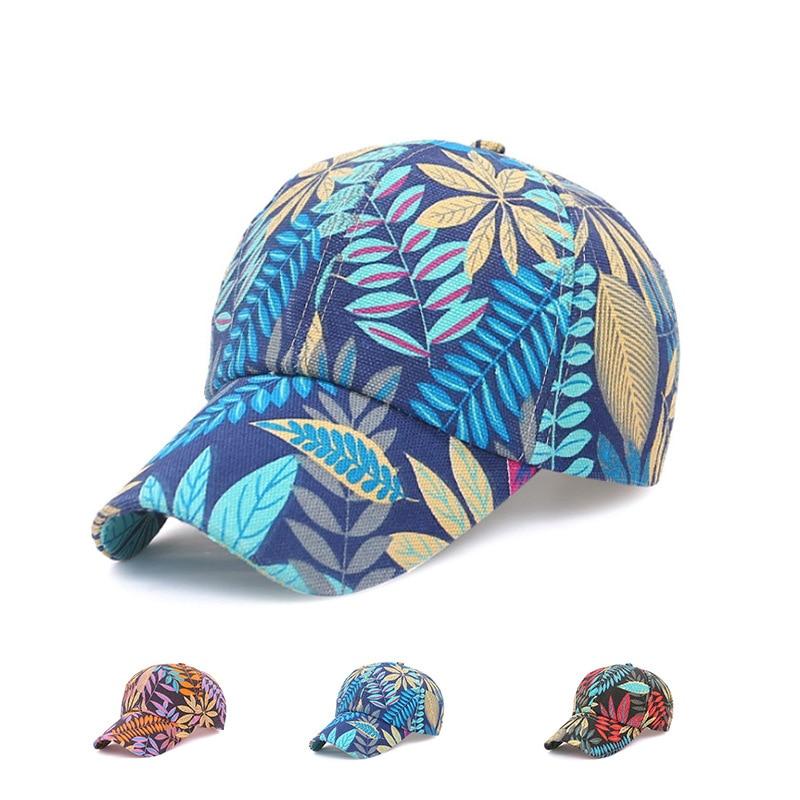 Summer Baseball Cap Trend Womens Outdoor Sun Hat Fashion Leaf Flower Men Breathable Sunscreen