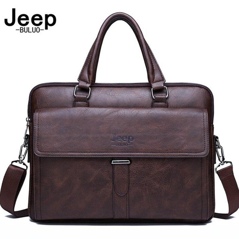 Мужской деловой портфель JEEP BULUO, оранжевый портфель для ноутбука 14, кожаная сумка для офиса, все сезоны,