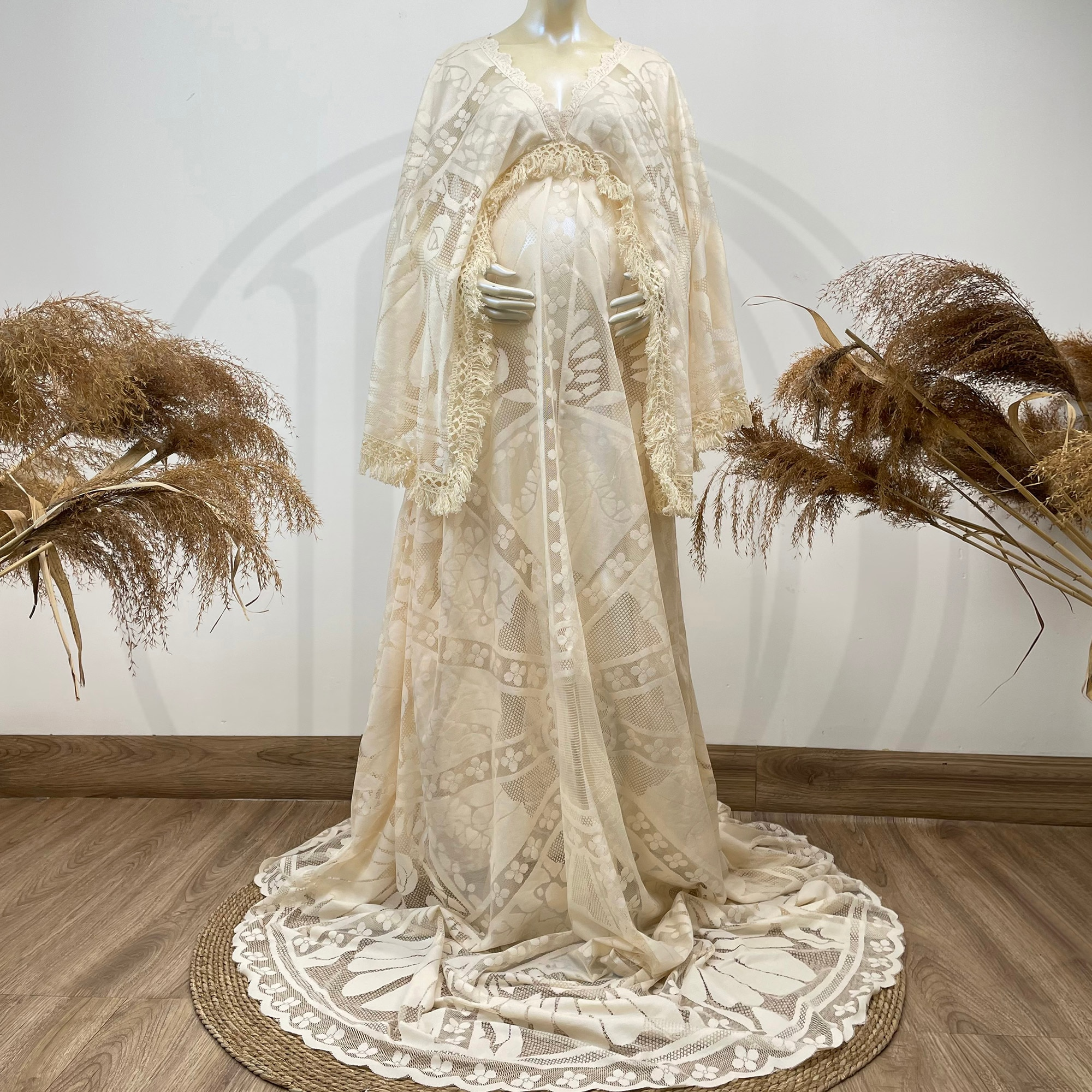 Don&Judy Kaftan Vintage Boho Lace Maternity Dress Photography Photo Clothes Party Bohemian Gown Pregnancy Dresses Photo Shoot enlarge