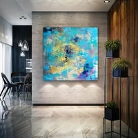blue and gold abstract painting on canvas artwork oil paintings acrylic textured painting modern art extra large wall art decor