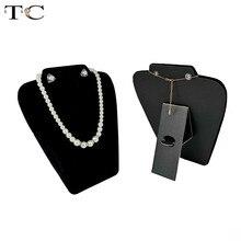 Originality Black Velvet Necklace Display Prop Medium Necklace Earrings Stand Easel Holder Pendant Rack