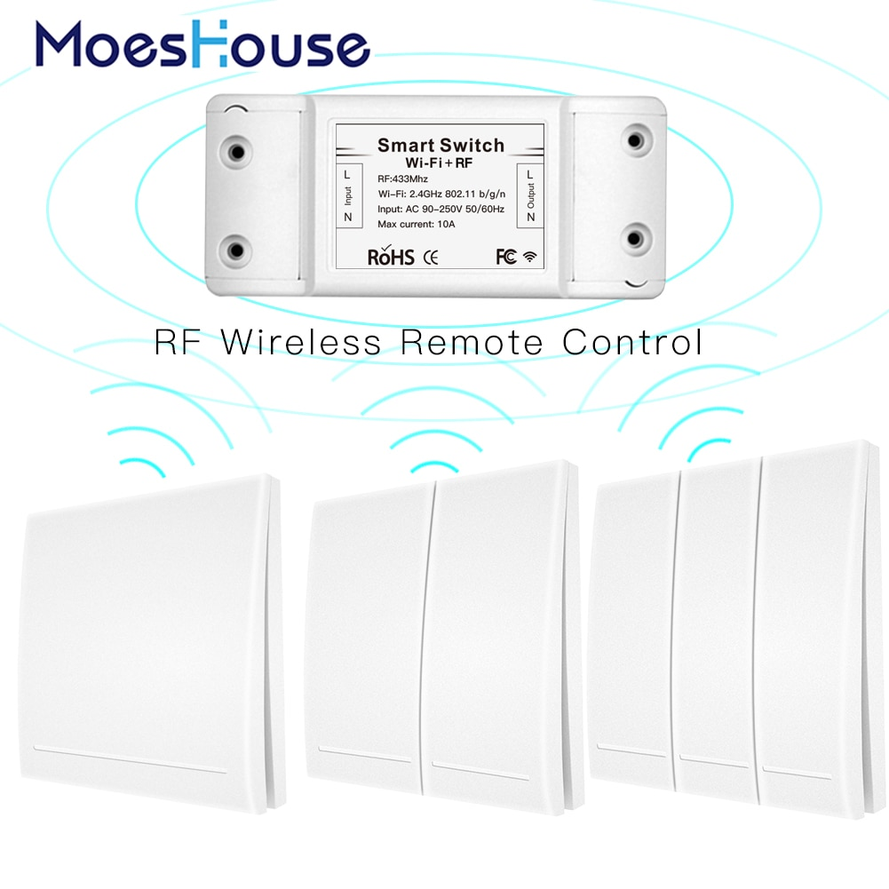 RF Wifi Control remoto inalámbrico interruptor inteligente Panel de pared transmisor Smart Life/Tuya APP, funciona con Alexa Google Home 433Mhz