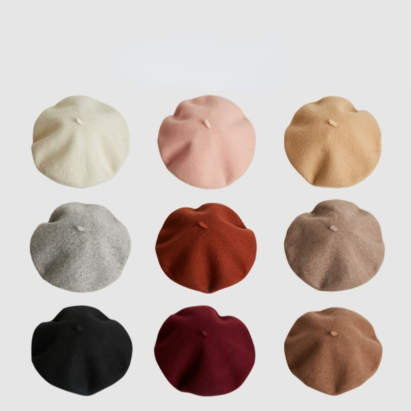 Ymh Beret Girls' Spring and Autumn All-Match KoreanStyle Wool JapaneseStyle Artistic Vintage PainterHat British SolidColor Beret