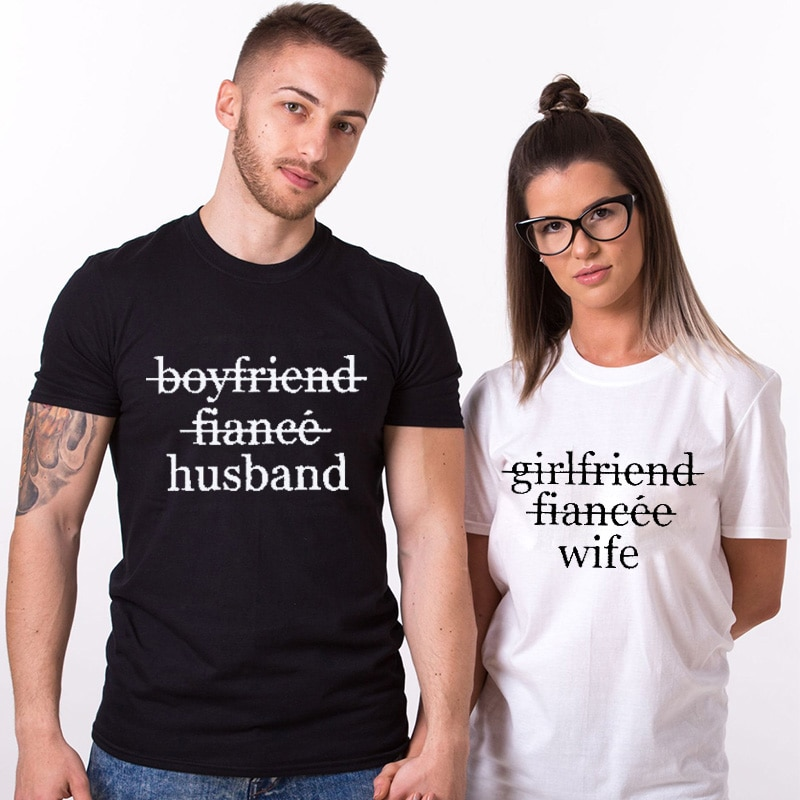 Pareja camiseta novia esposa novio novia pareja luna de miel camisas regalo de boda Unisex