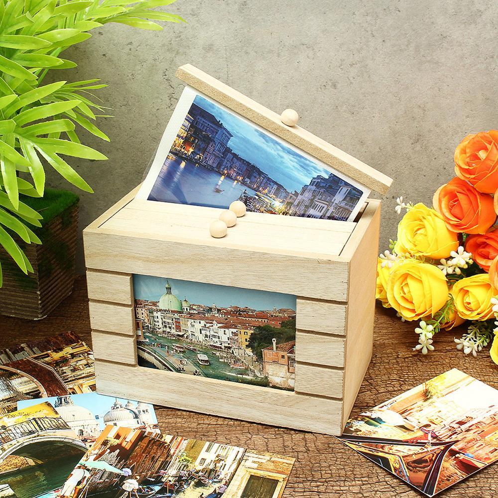 Caja de almacenamiento para fotos, álbum de 6 pulgadas, Ideas de madera, foto, boda, insertar, caja de almacenamiento, álbum de fotos, caja decorativa Diy, Dropship
