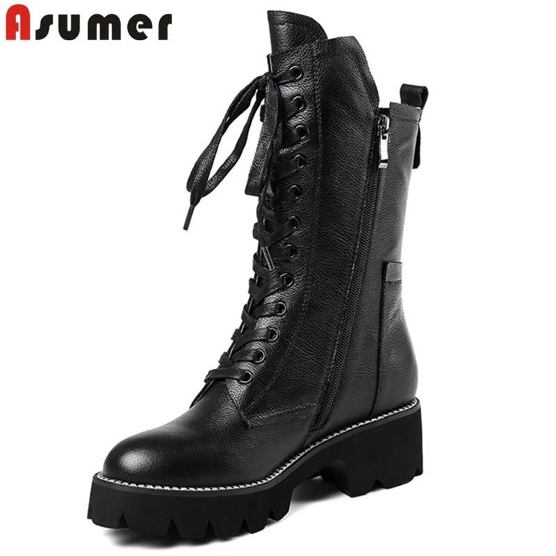ASUMER كامل بوط من الجلد الطبيعي النساء الخريف الشتاء الأحذية البريدي الصليب تعادل منتصف العجل الأحذية مربع كعب منصة الكلاسيكية بوتاس