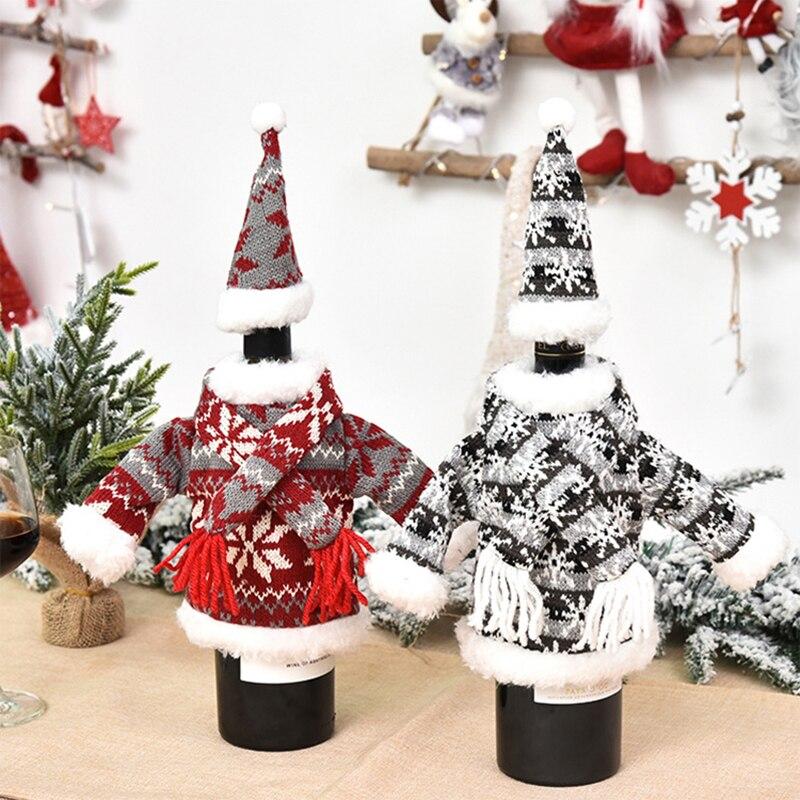 Copos de garrafa de vinho bonito camisola de malha capa de férias conjunto festa de natal festival jantar decorações de mesa