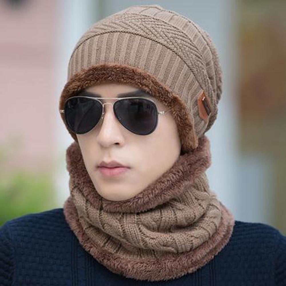 2 unids/set de gorro de invierno para hombre, gorro de esquí cálido holgado, sombrero gorro bufanda, conjunto de pañoleta, gorro de protección para la nariz cálido de moda