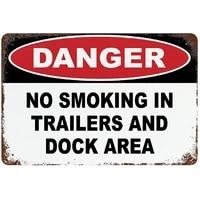pottelove metal sign no smoking in trailers and dock area aluminum retro design weatherproof horizontal wall decoration