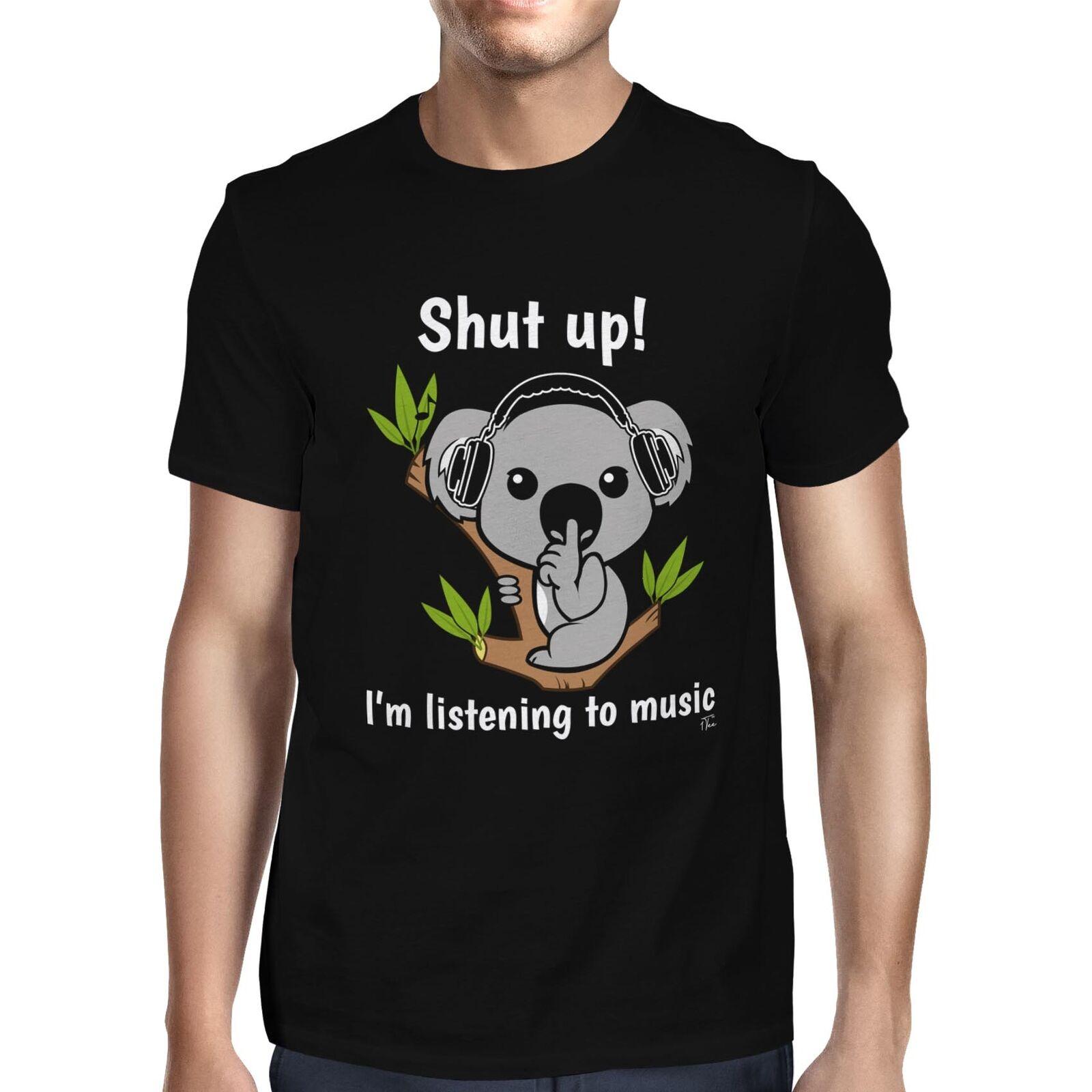 1t mens shut up im ouvir música koala urso t camisa