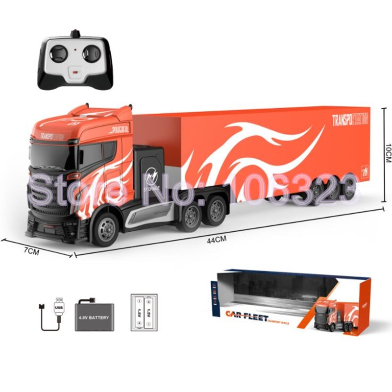2.4g Four Channel Wireless Remote Control Container Truck, Industrial Transportation Trailer Toy, RC Van Tractor Carrier Vehicle enlarge
