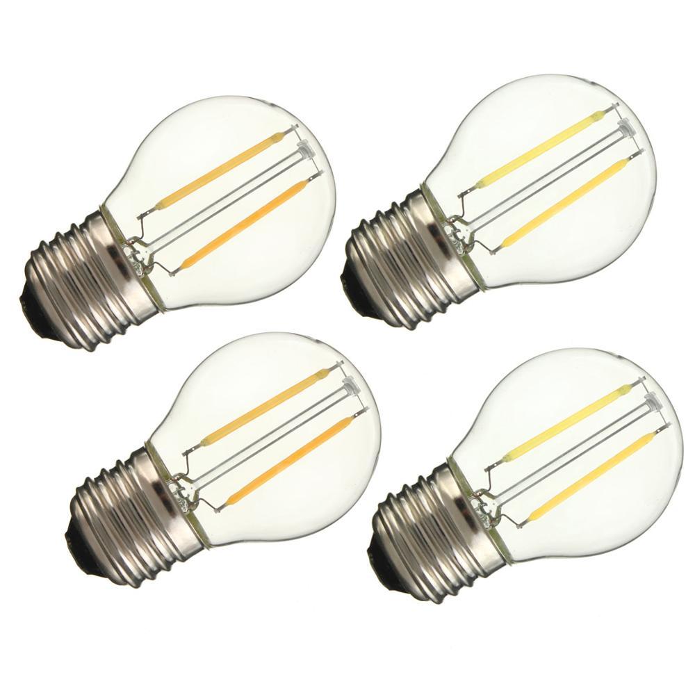 3 шт. Стекло светодиодный лампы E27 типа «Свеча»), 2 Вт, 4 Вт, 6 Вт AC 220V Светодиодный лампа накаливания Эдисона лампа E27 G45 Винтаж Свеча светильник ...