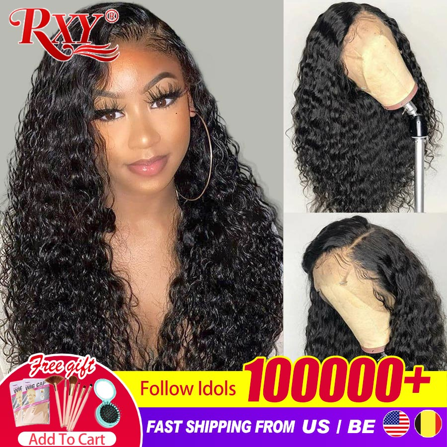 Deep Wave Frontal Wig Curly Human Hair Wig 360 Human Hair Lace Frontal Wigs For Black Women RXY Remy
