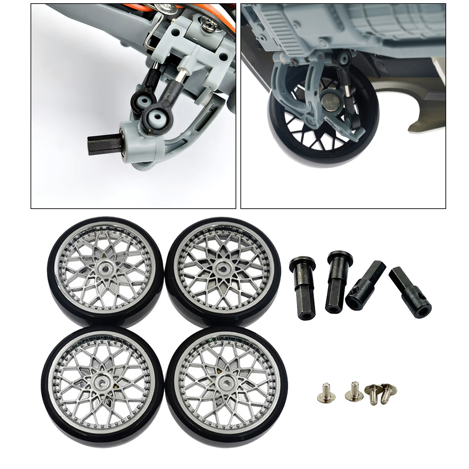 4pcs RC Rubber Tires Tyres & Wheel Axle for 1:10 WPL D12 Upgrade Parts enlarge