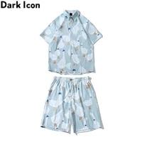 dark icon ducks full print hawaii shirts and shorts summer beach holiday mens set