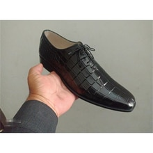 Men's PU Dress Low-heel Pointed Toe Fashion All-match Solid Color Classic Crocodile Pattern Lace-up