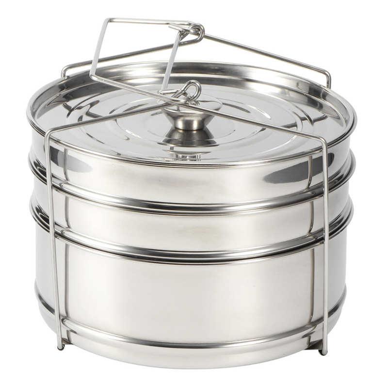 تكويم 3 الطبقة اواني الطبخ المقاوم للصدأ وعاء طباخ مجموعة طهي وعاء ضغط الغذاء الملحقات