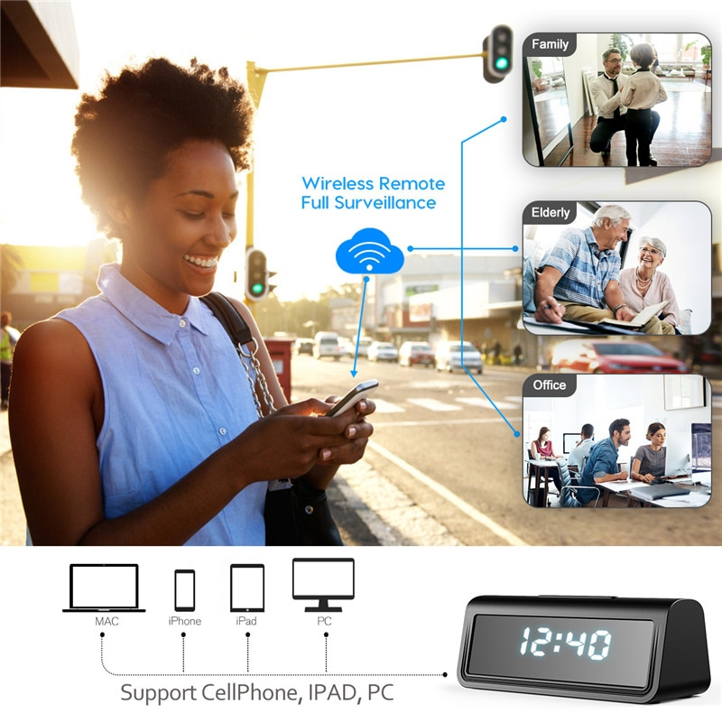 wifi camera Secret Clock micro camera Recorder Security Night Vision Motion Detect Camcorder 166degree 4k HFD micro kamera espia enlarge