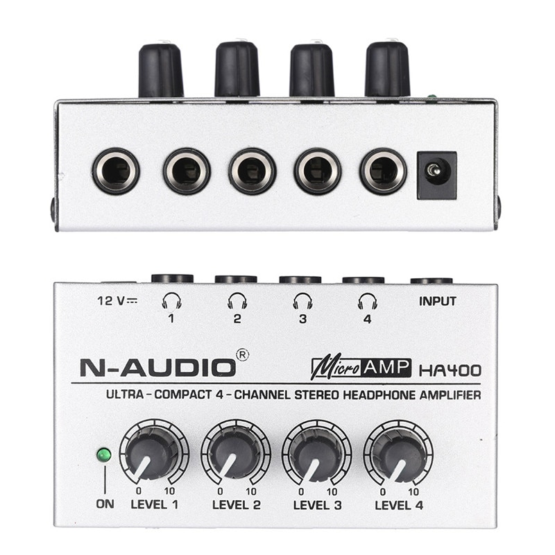 Power HA400 Headphone Amplifier 4 Channels Mini Audio Stereo with Power Adapter for Music mixer Recording studio monitoring