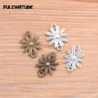 pulchritude 30pcs 1420mm 2020 new product two color flower charms connector jewelry metal alloy jewelry marking