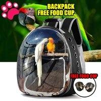 pet birdcage portable transport parrot cage pv oxford cloth breathable birdcage travel drinking pet bird shoulder transport bag