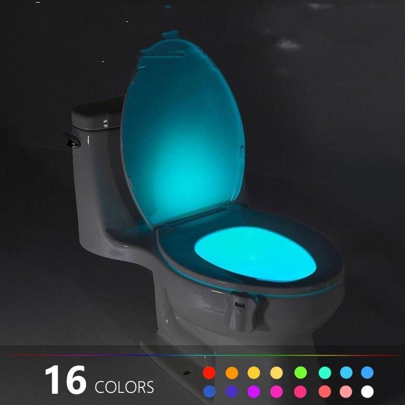 Luz de fondo para el tazón del inodoro, luces para el asiento del inodoro con Sensor de movimiento, luz nocturna inteligente para el baño, luz LED para el inodoro # w