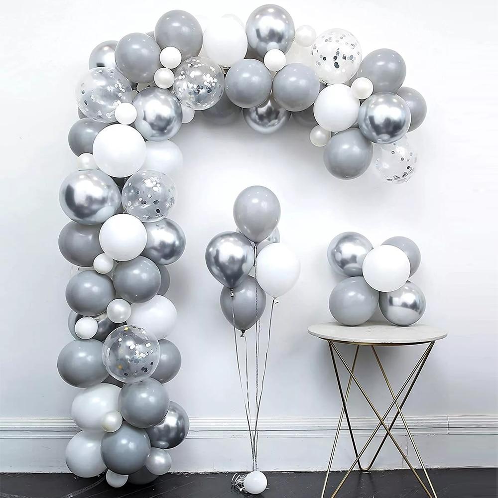 82 шт. пастельные серые белые шары комплект гирлянды металлическая серебряная алюминиевая фольга шары для свадьбы и дня рождения украшение ...