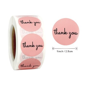 500Pcs/Roll Thank You Pink Stickers Self Adhesive Handmade Labels Wedding Gift Party Decoration 2