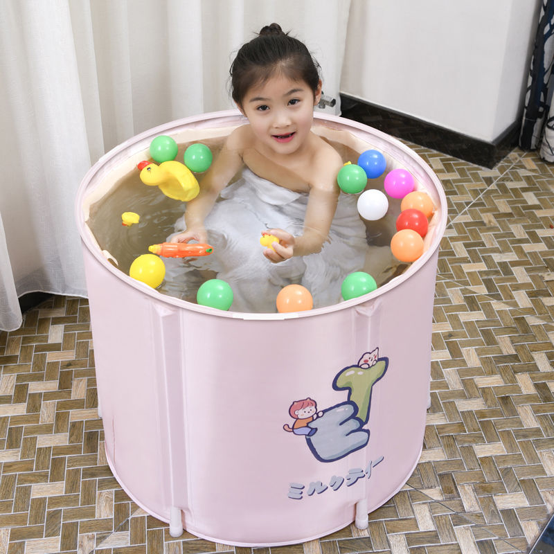 Foldable children bath barrel baby Soaking tub Little kid cartoon bathtub Newborn bathing pool