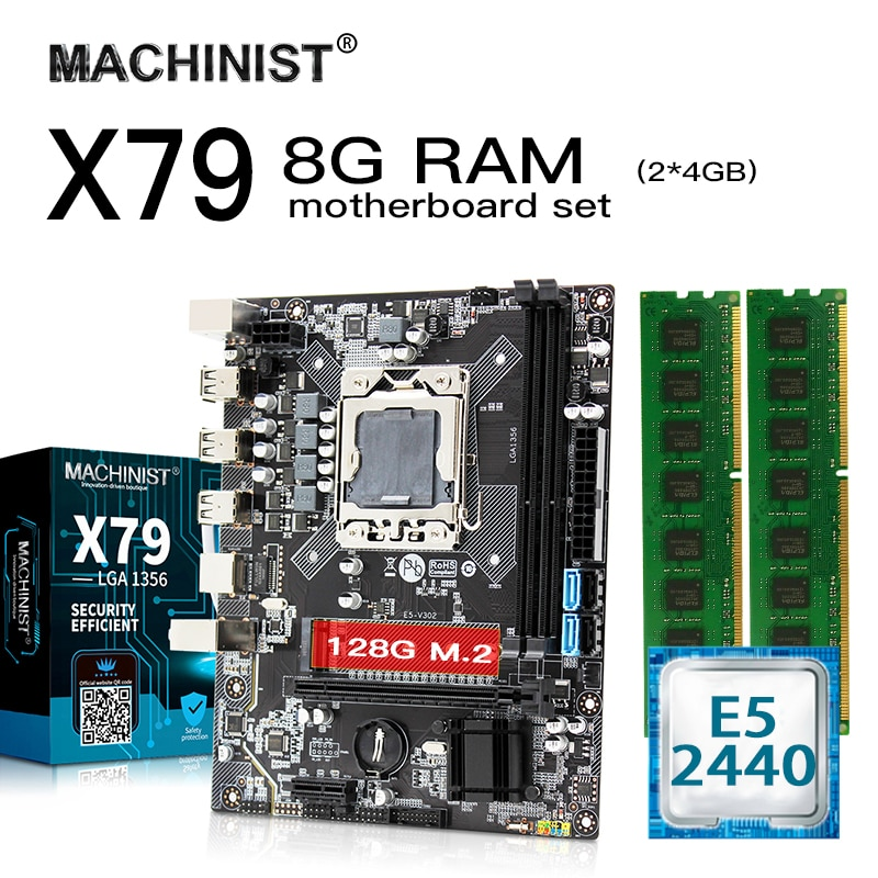E5 X79 LGA 1356 placa base con kit de conjunto Intel Xeon E5 2440 CPU 8G(2*4GB) 1600MHz DDR3 ECC REG RAM micro-ATX NVME M.2 SSD de 128GB