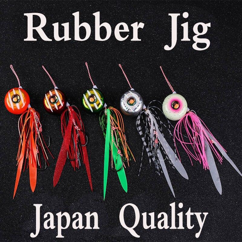 Hunthouse rubber jig fishing lure lead fish jigging Metal Lead Jig Head swim bass skirt 45 60 80 100 120g Boat Bait Lure