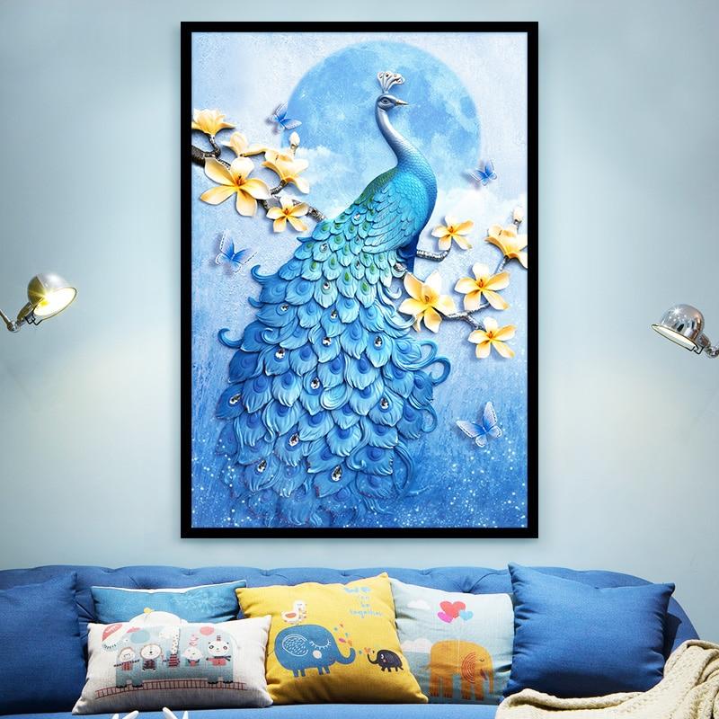 5D pintura de diamante DIY Pavo Real Animal principiante hecho a mano pegatinas de pared bordado pintura diamante sala de estar decoración del hogar DA60ZZH