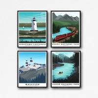 travel poster canada travel poster 4 piece set modern canadian print decoration