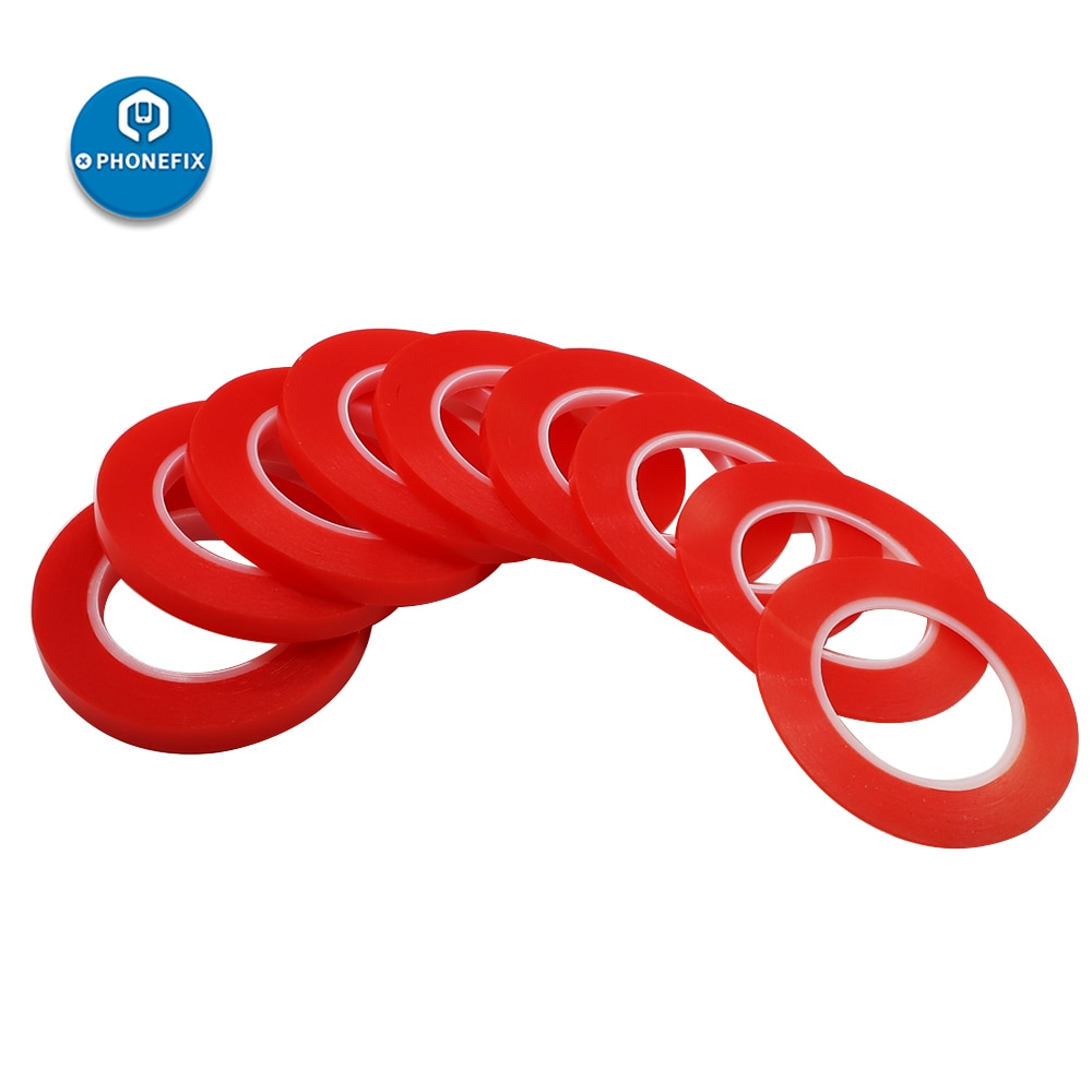 Adhesivo acrílico fuerte PHONEFIX 25M PET película roja cinta transparente de doble cara para teléfono tableta pantalla LCD de cristal 2mm/4mm/6mm/8mm/10mm
