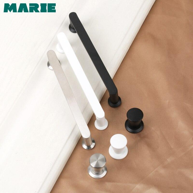 Tiradores de acero inoxidable estilo moderno MARIE hardware negro blanco armario plateado Puerta de armario tirador de mueble