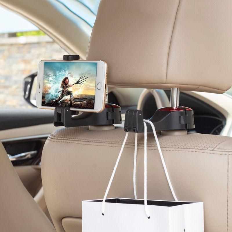 YKSKR Adjustable Car Headrest Hooks Mobile Stand Car Phone Holder Fastener Seat Back Hanger Clips Fo