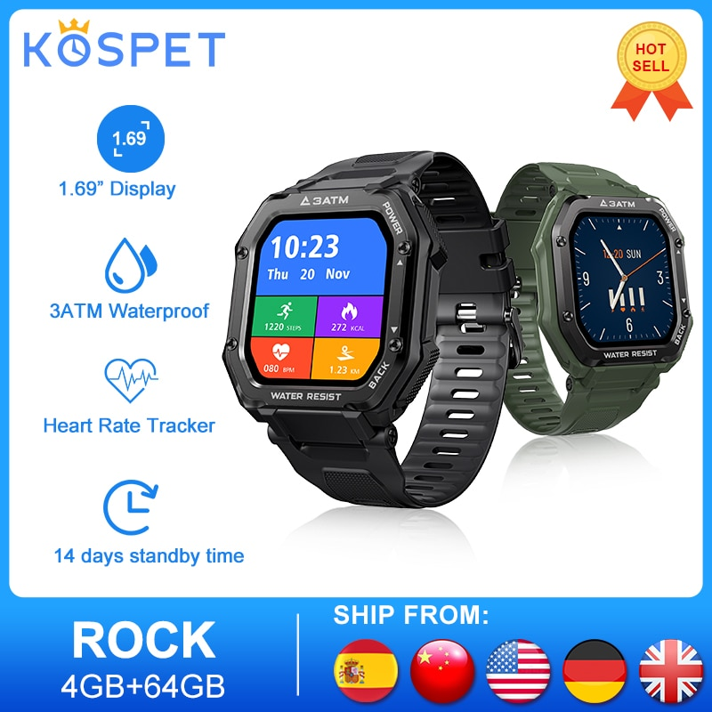KOSPET ROCK Rugged Outdoor Sports Smart Watch Men Full Touch Fitness Tracker Blood Pressure Smart Cl