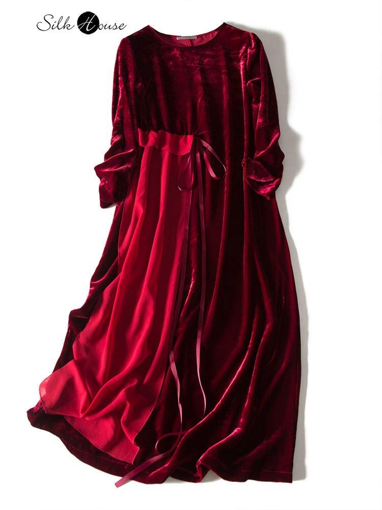 2020 Original Design Wine Red Temperament Niche Designer Ribbon Skirt Long Silk Velvet Dress