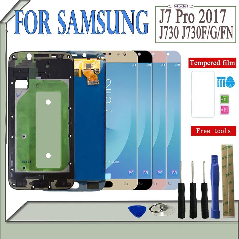 SM-J730F/G/GM/FN/DS para Samsung Galaxy J7 Pro 2017 J730 pantalla LCD + pantalla táctil J730F Ajuste de brillo con marco