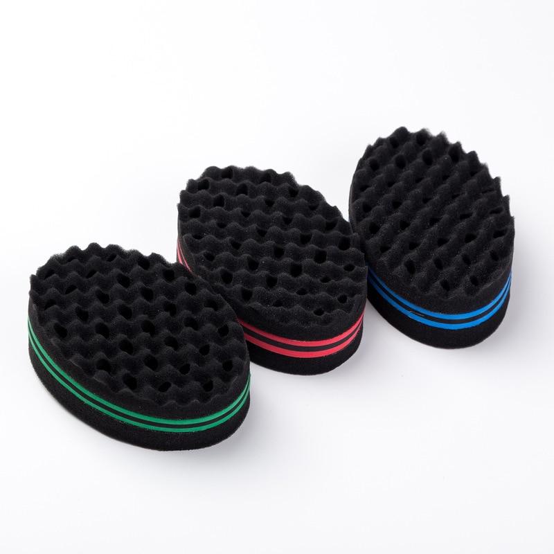 Nuevo doble lados magia giro esponja cepillo de pelo esponja cepillo Natural afro de la bobina de la onda temor esponja cepillos envío gratis