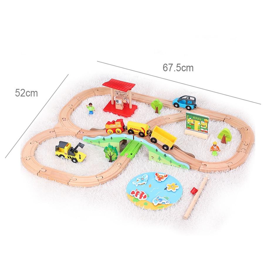 Зеленый лес поезд трек деревянный маленький поезд игрушка наряд Детский поезд транспорт комбинированная игрушка совместимый ПОЕЗД ДЕРЕВЯ...