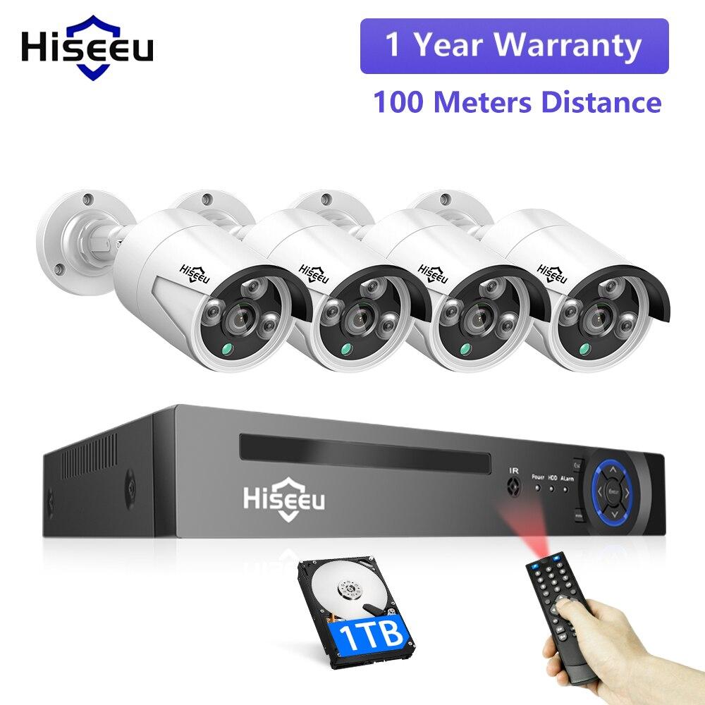 Hiseeu H.265 8CH 5MP POE охранная Камера видеонаблюдения система Комплект AI распознавание лица аудио запись IP камера ИК CCTV видео NVR набор|Система наблюдения|   | АлиЭкспресс