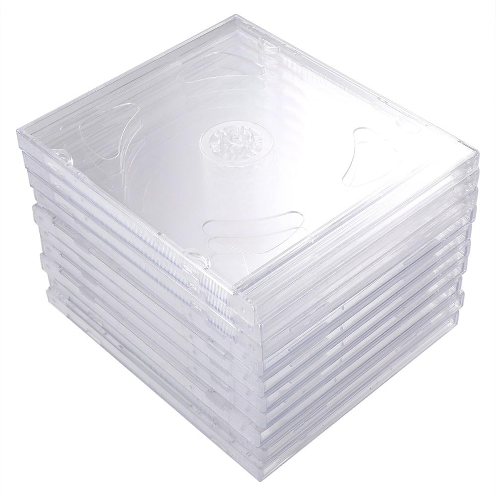 10 Uds. Cajas transparentes para DVD cajas portátiles de almacenamiento de CD paquetes de CD DIY para cine en casa estudio